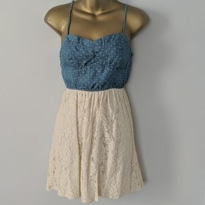 Polka dot lace summer dress size XS